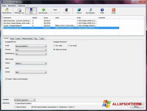 Captură de ecran XMedia Recode pentru Windows XP