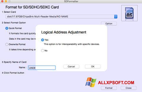 Captură de ecran SDFormatter pentru Windows XP