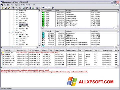Captură de ecran Dependency Walker pentru Windows XP