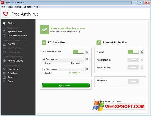 Captură de ecran Avira Free Antivirus pentru Windows XP