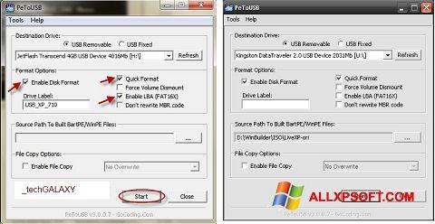Captură de ecran PeToUSB pentru Windows XP