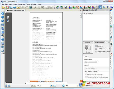 Captură de ecran Solid Converter PDF pentru Windows XP