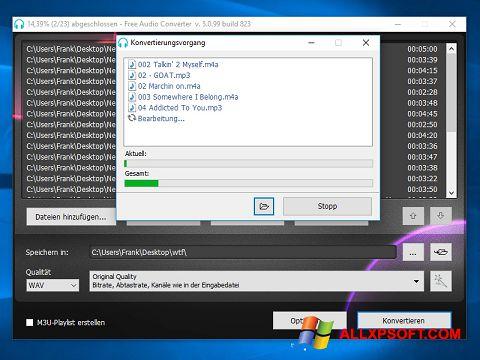 Captură de ecran Free Audio Converter pentru Windows XP