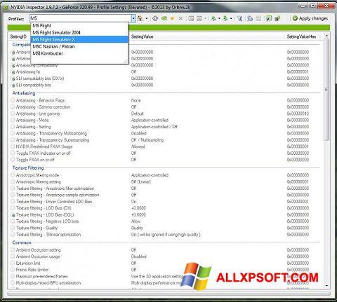 Captură de ecran NVIDIA Inspector pentru Windows XP