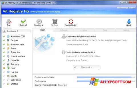 Captură de ecran Vit Registry Fix pentru Windows XP
