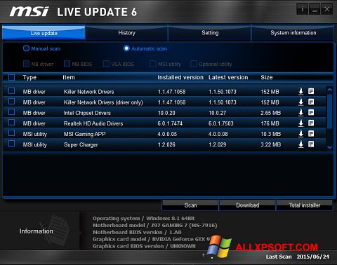 Captură de ecran MSI Live Update pentru Windows XP