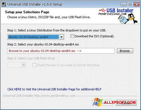 Captură de ecran Universal USB Installer pentru Windows XP