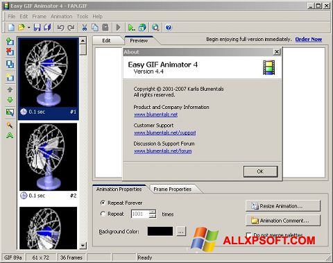 Captură de ecran Easy GIF Animator pentru Windows XP