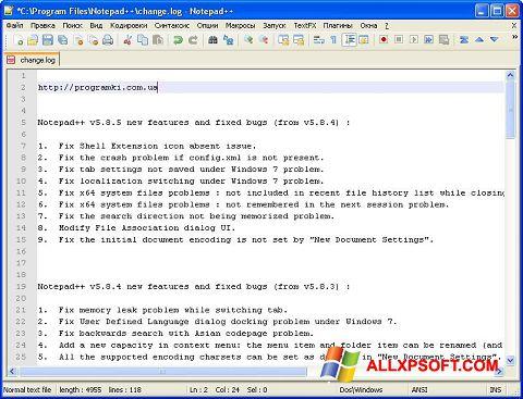 Captură de ecran Notepad++ pentru Windows XP