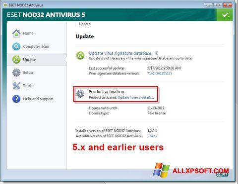 Captură de ecran ESET NOD32 pentru Windows XP