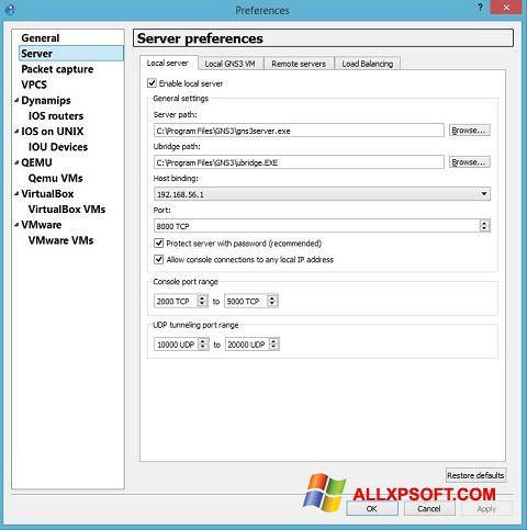 Captură de ecran GNS3 pentru Windows XP