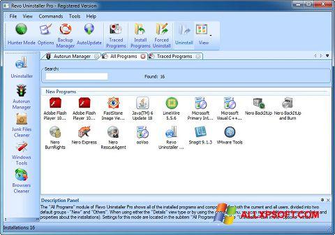 Captură de ecran Revo Uninstaller Pro pentru Windows XP